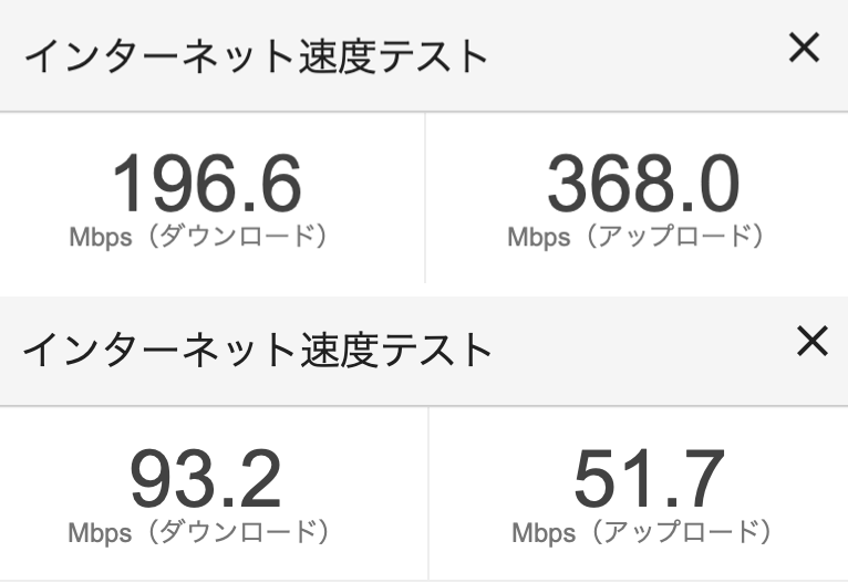 上が5.0ghz,下が2.4ghz(Google スピードテスト)